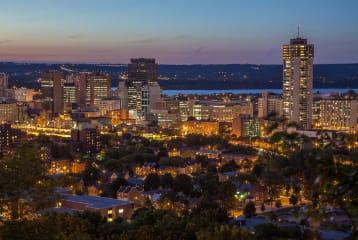 A night-time image of Binatech's Hamilton, Ontario location.