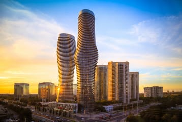 An evening image of Binatech's Mississauga, Ontario location.